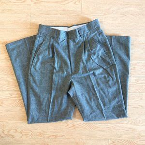 Vintage Plaid Trousers Straight Leg Pants Grey 28